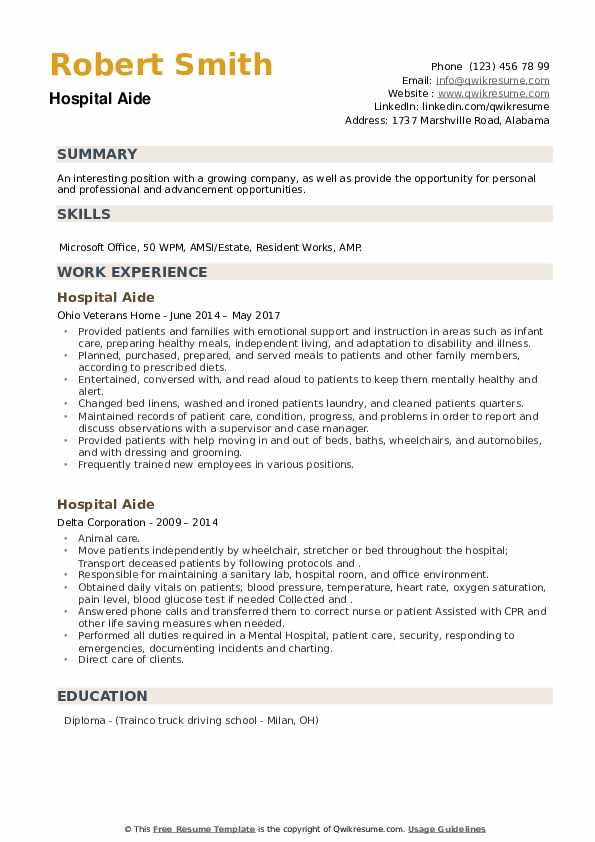 Hospital Aide Resume example