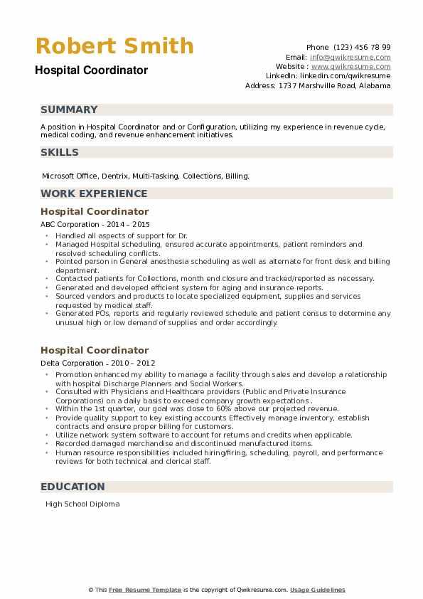 Hospital Coordinator Resume example