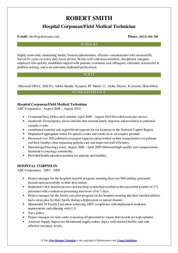 Hospital Corpsman/Field Medical Technician Resume Format