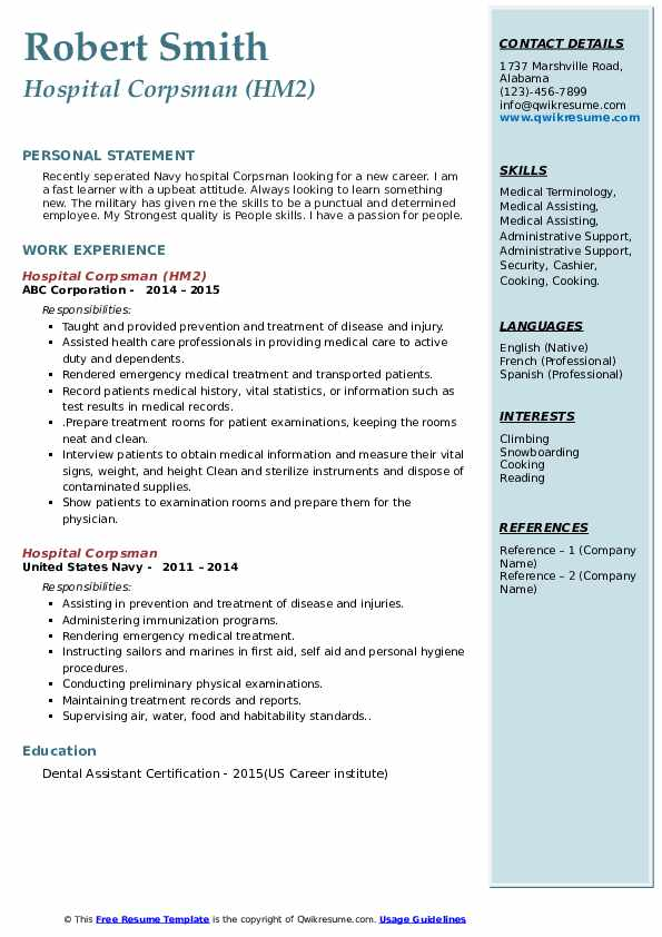 Hospital Corpsman (HM2) Resume Sample
