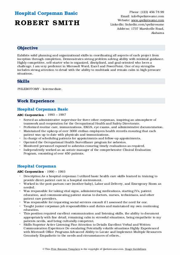 Hospital Corpsman Basic Resume Format
