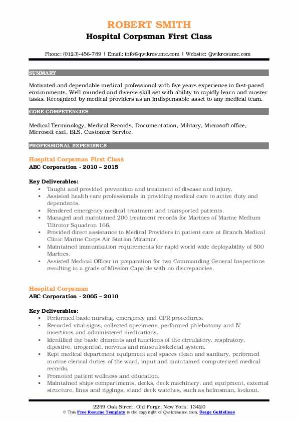 Hospital Corpsman First Class Resume Sample