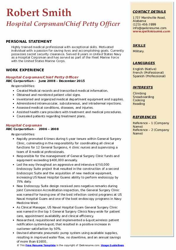 Hospital Corpsman/Chief Petty Officer Resume Sample