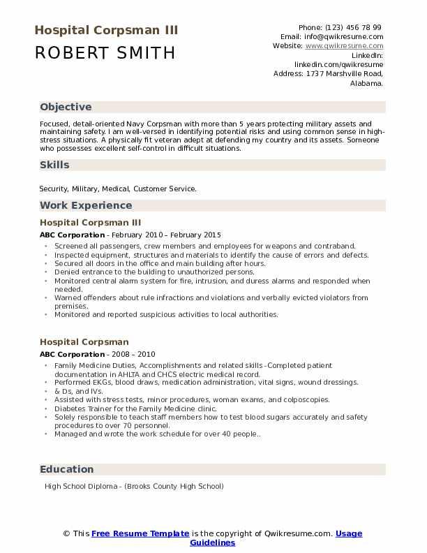 Hospital Corpsman III Resume Format