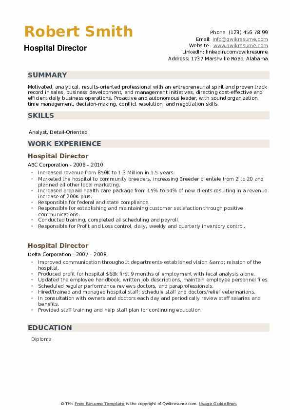Hospital Director Resume example