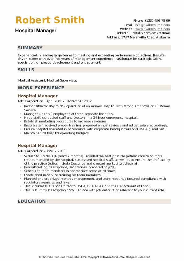 Hospital Manager Resume example