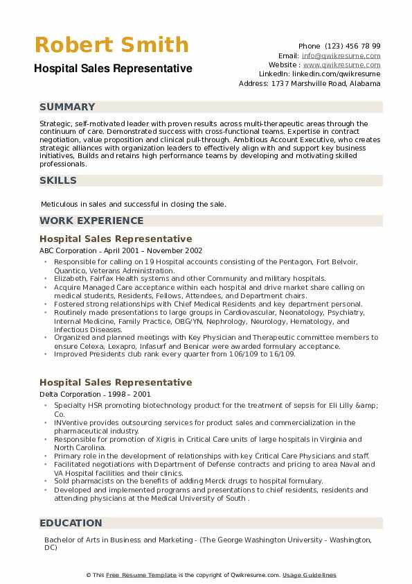 Hospital Sales Representative Resume example