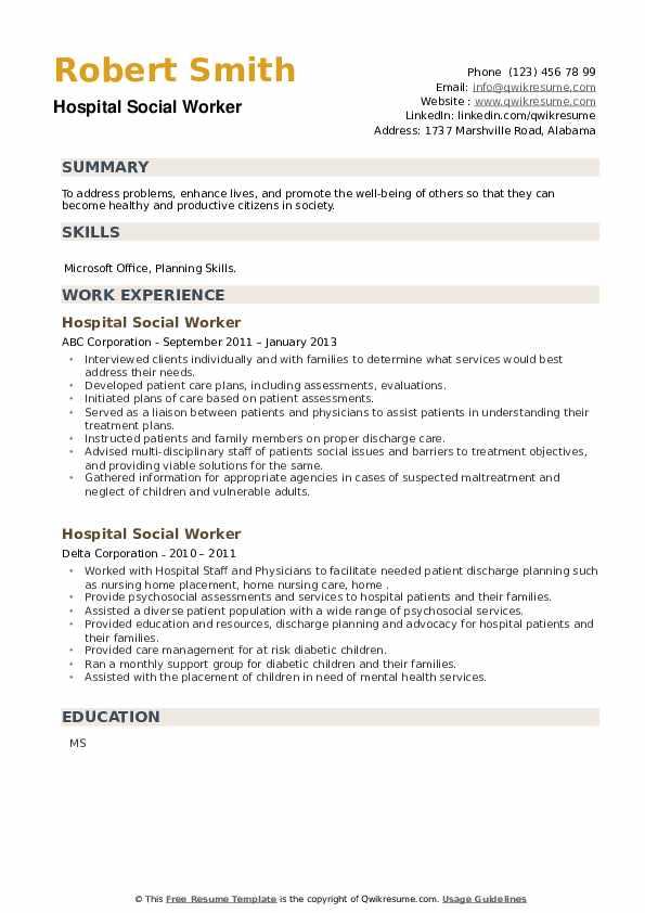 Hospital Social Worker Resume example