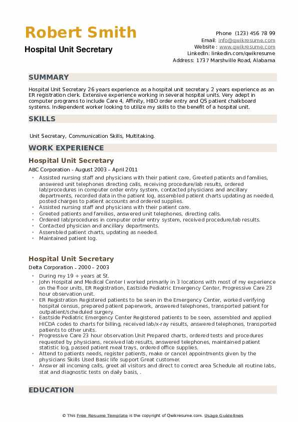 Hospital Unit Secretary Resume example