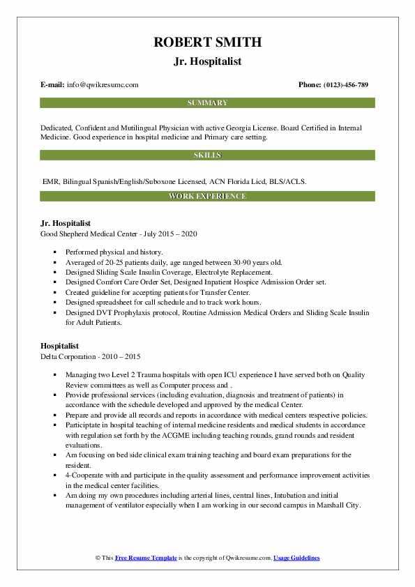 Hospitalist Resume Samples | QwikResume