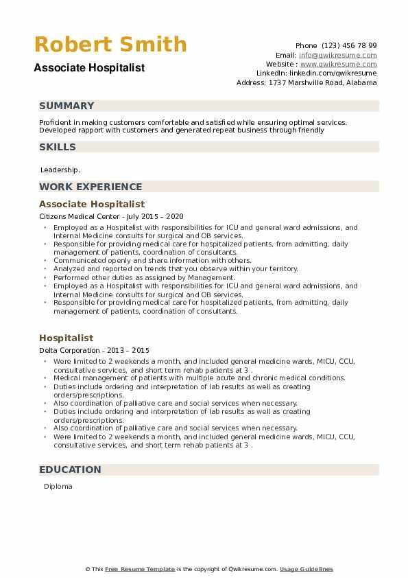 Hospitalist Resume example