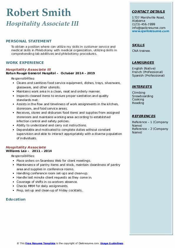 Hospitality Associate III Resume Format