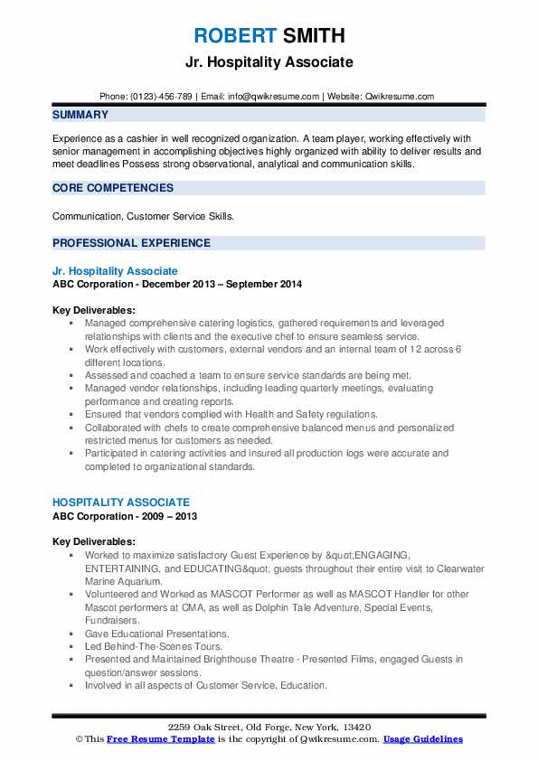 Finance Associate Resume example