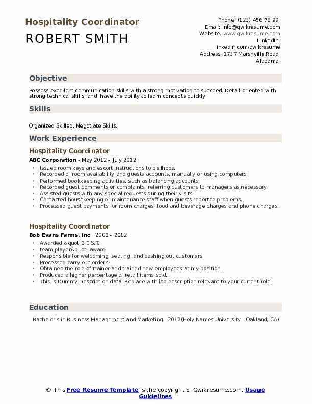 Hospitality Coordinator Resume example