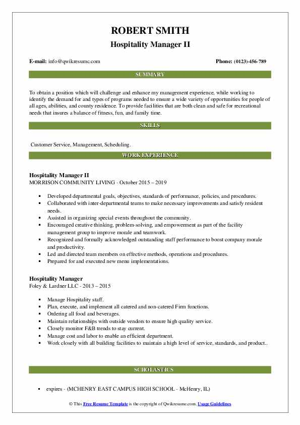 Hospitality Manager II Resume Template