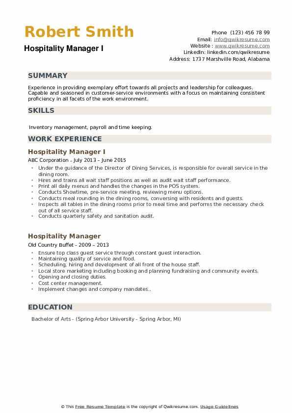 Hospitality Manager I Resume Format