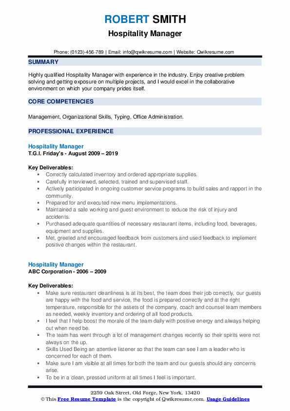 Hospitality Manager Resume example