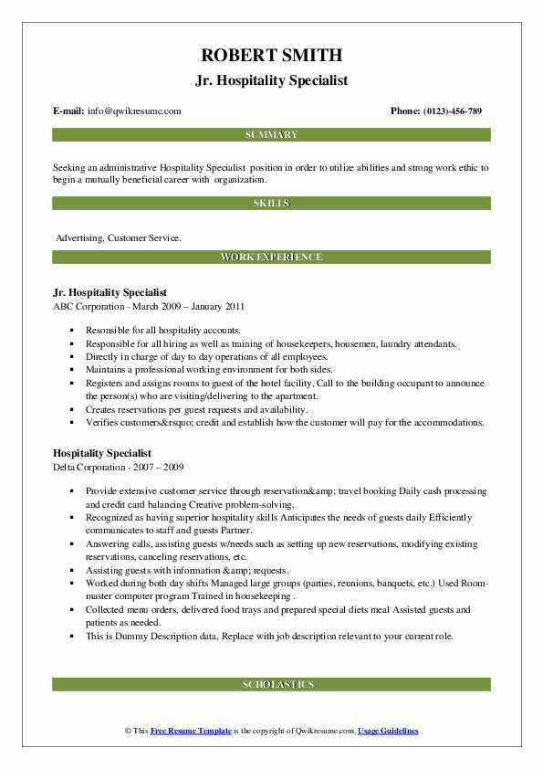 hospitality specialist resume samples  qwikresume