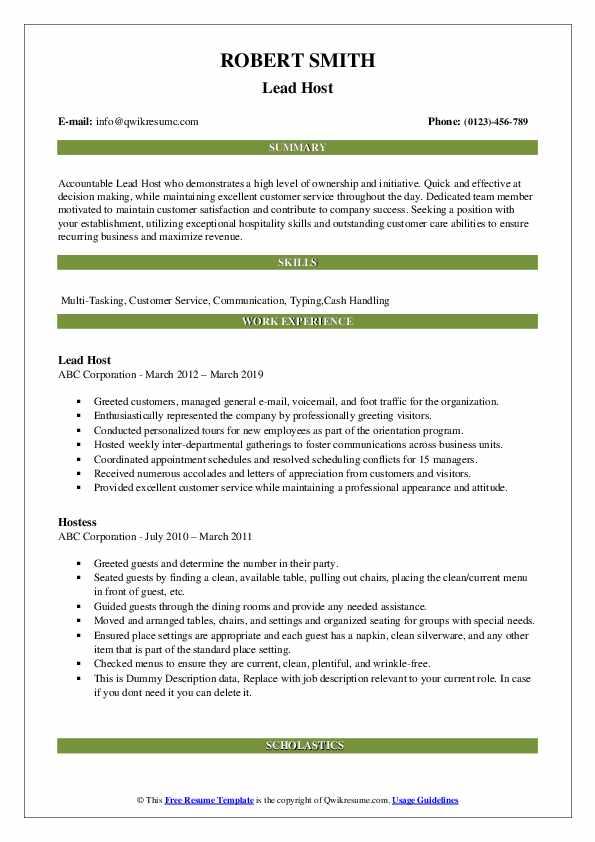 Lead Host Resume Sample