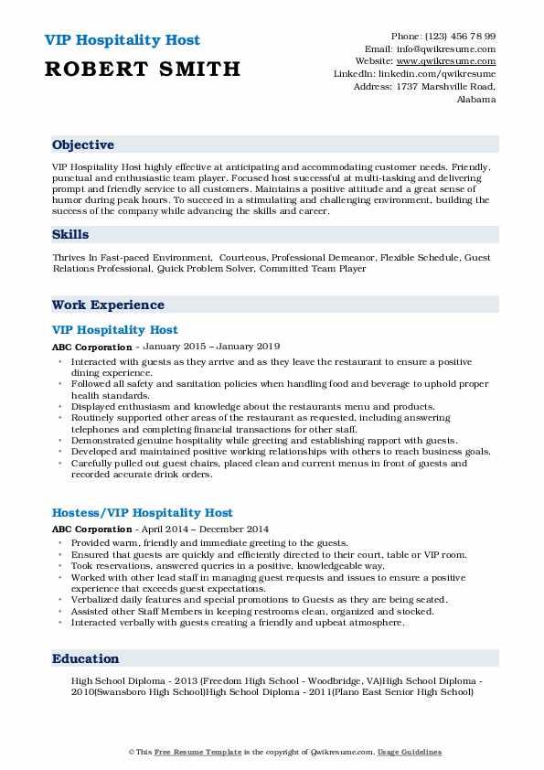 VIP Hospitality Host Resume Example