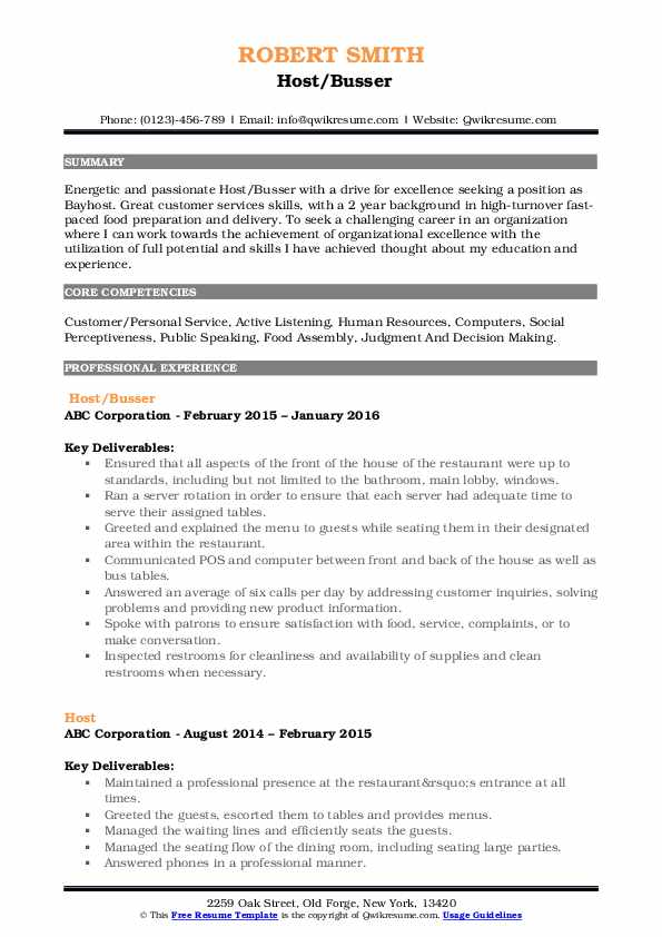 Host/Busser Resume Format