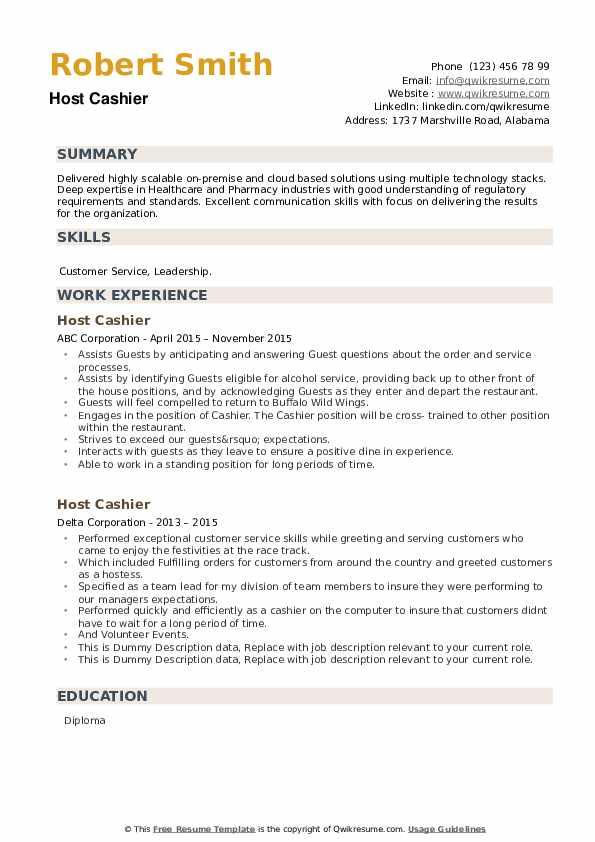 Host Cashier Resume example