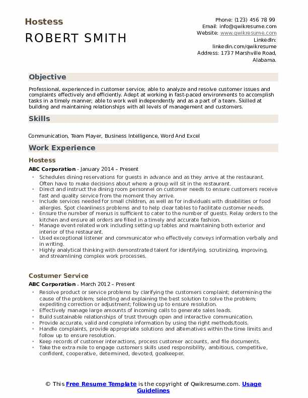 Hostess Resume Format
