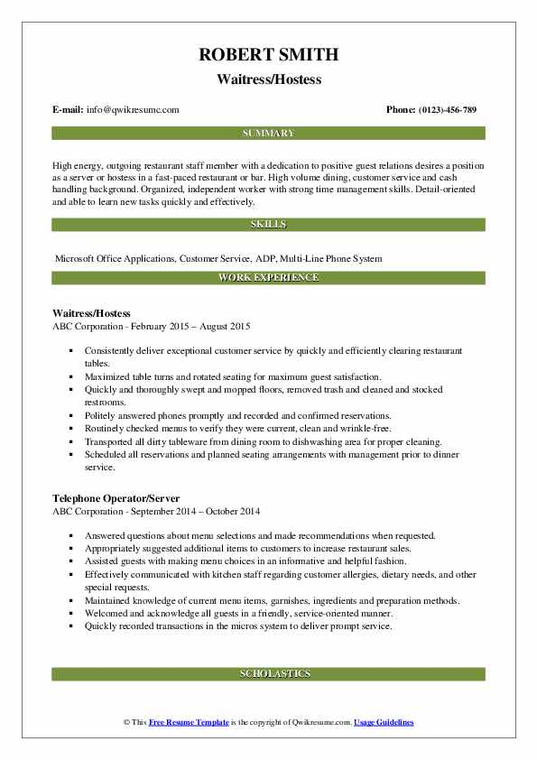 Waitress/Hostess Resume Template
