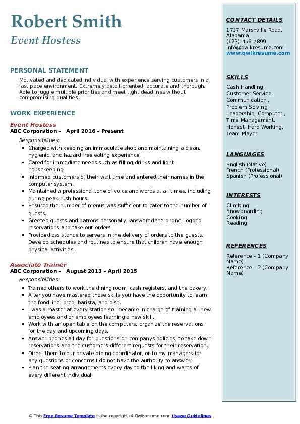 Event Hostess Resume Sample