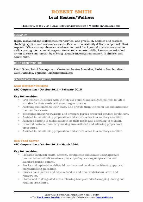Lead Hostess/Waitress Resume Template