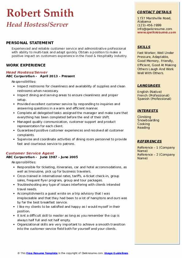 Head Hostess/Server Resume Sample
