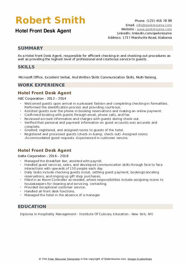 Hotel Front Desk Agent Resume example