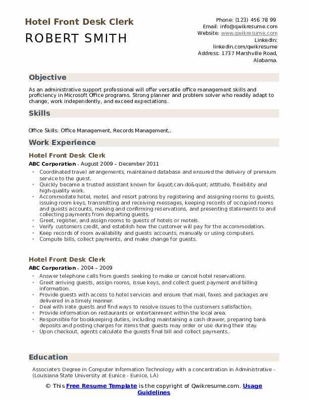 Hotel Front Desk Clerk Resume Sample