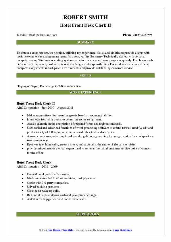Hotel Front Desk Clerk II Resume Format