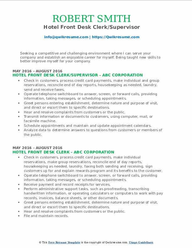 Hotel Front Desk Clerk/Supervisor Resume Format