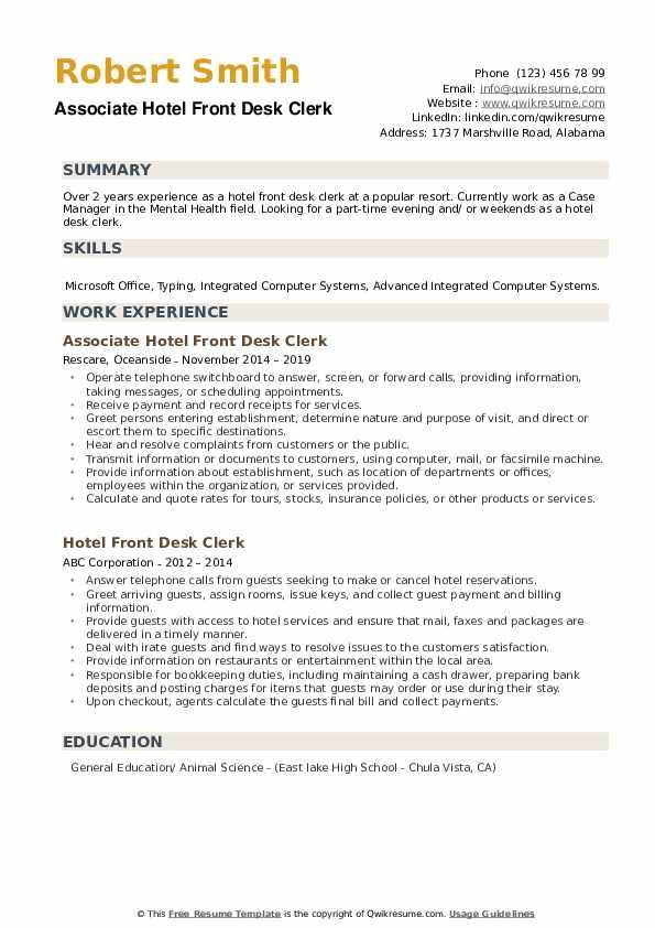 Associate Hotel Front Desk Clerk Resume Example