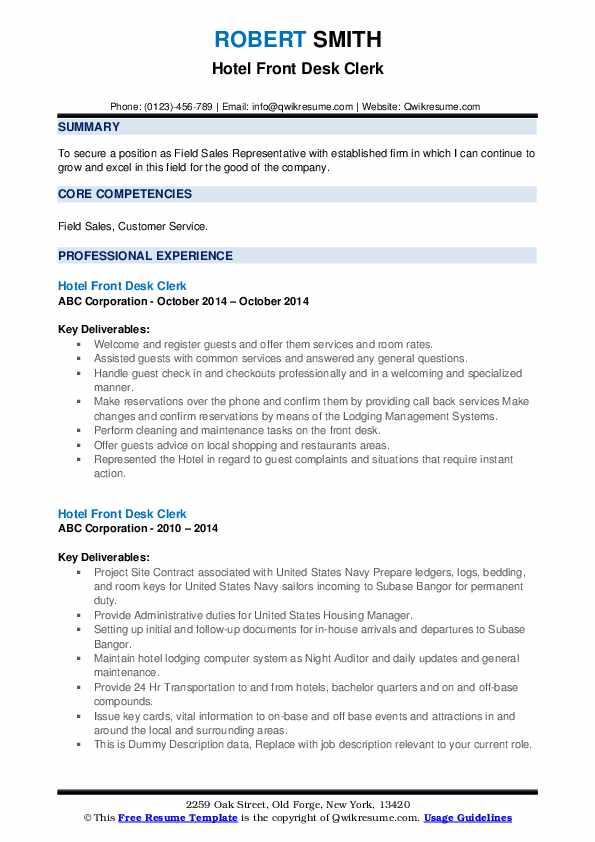 Hotel Front Desk Clerk Resume example