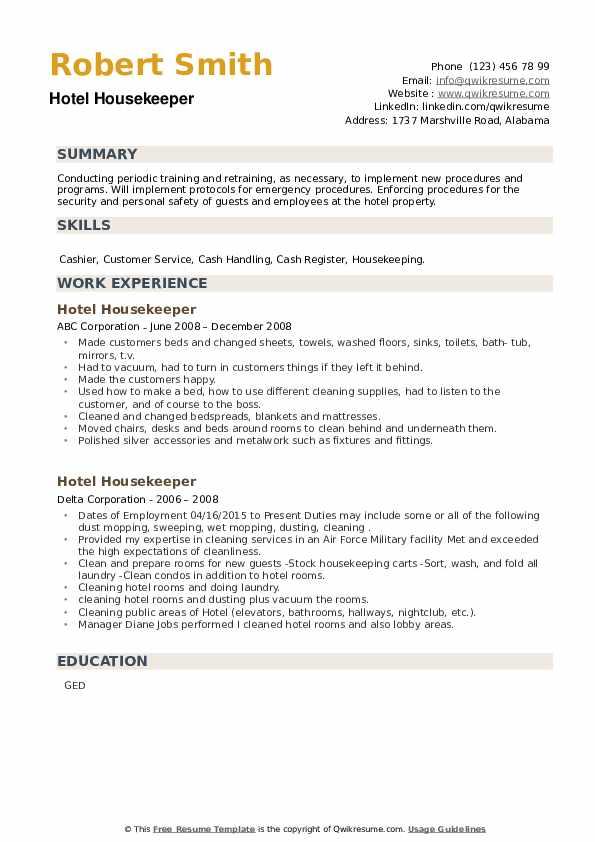 Hotel Housekeeper Resume example