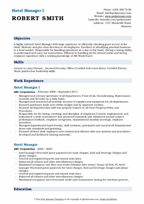 Hotel Manager Resume Samples Qwikresume