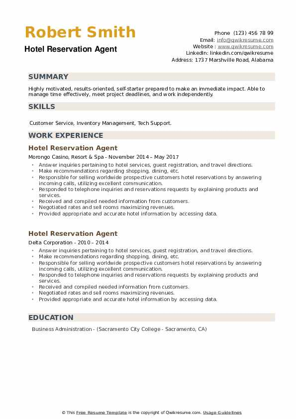 Hotel Reservation Agent Resume example