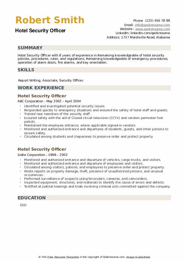Hotel Security Officer Resume example