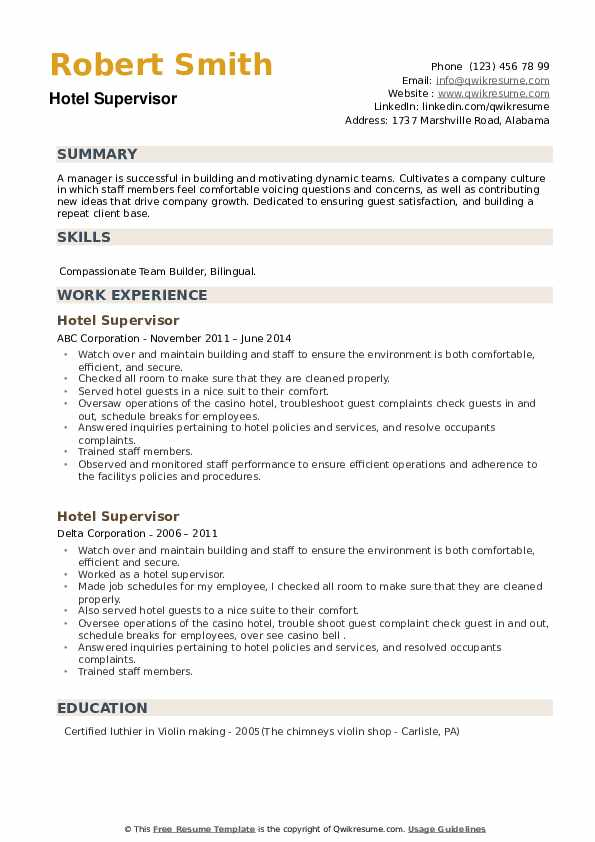 Hotel Supervisor Resume example