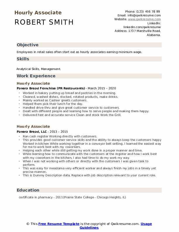 Hourly Associate Resume example