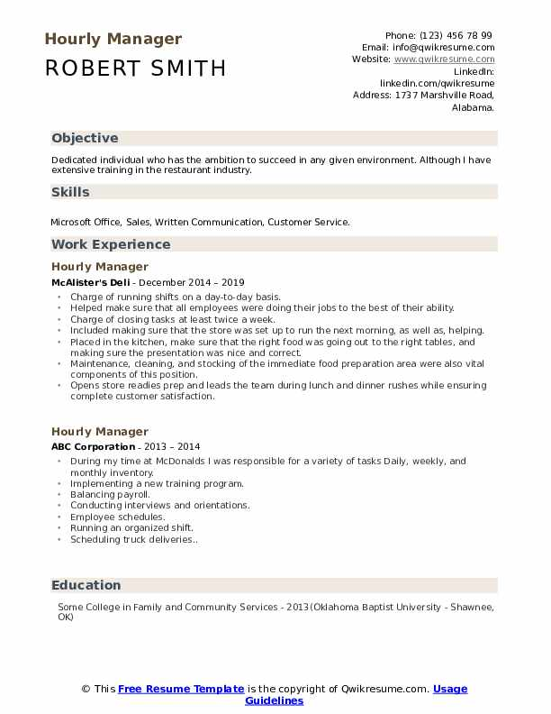 Hourly Manager Resume Sample