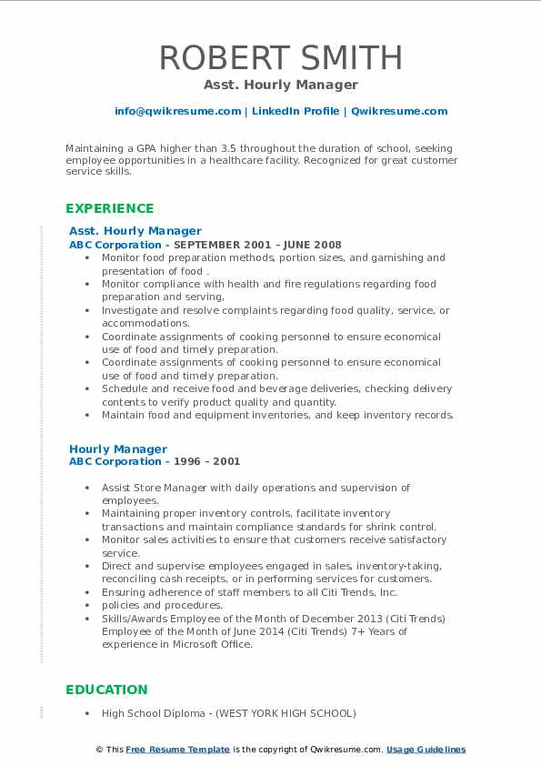 Asst. Hourly Manager Resume Sample