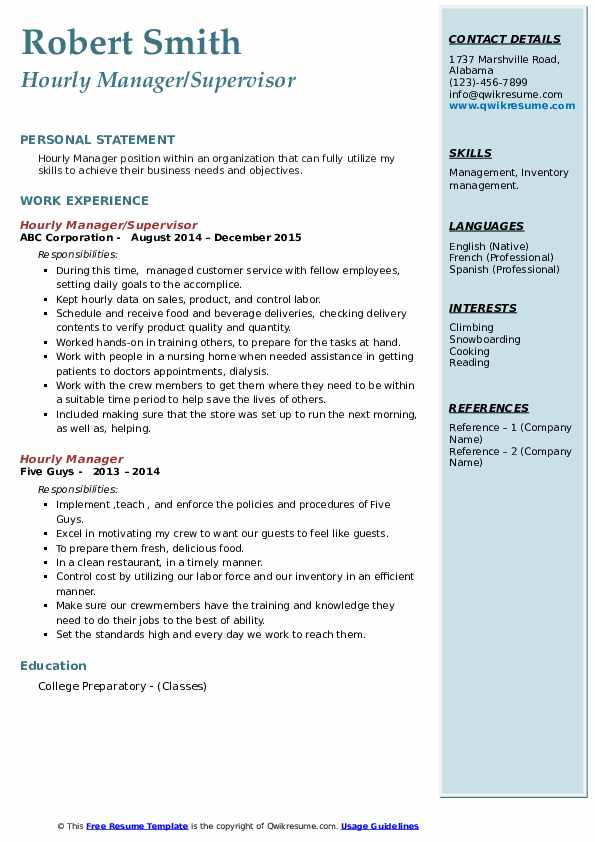 Hourly Manager/Supervisor Resume Template