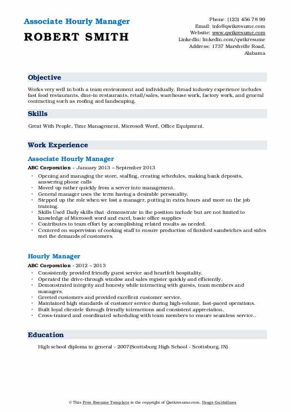 Associate Hourly Manager Resume Format