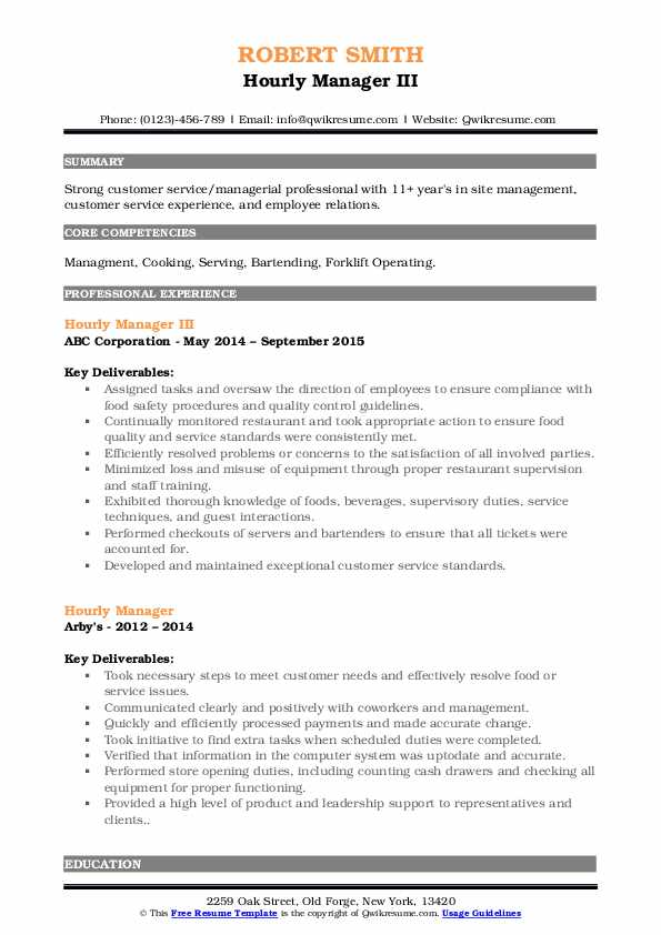 Hourly Manager III Resume Template