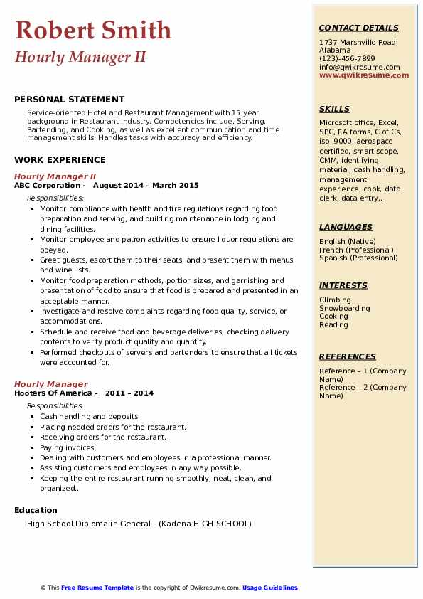 Hourly Manager II Resume Template