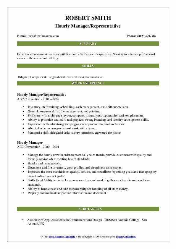Hourly Manager/Representative Resume Model